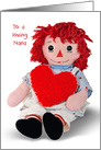 Birthday for Nana old rag doll with red heart isolated on white card