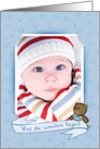 Baby Boy Announcement photo card with banner and teddy bear card