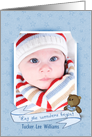 Baby Boy Announcement photo card with custom name card