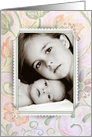 Grandma's Birthday photo card with corner slit frame on floral paper card