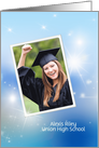 Graduation photo card invitation with sparkling bokeh background card