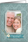Anniversary photo card teal damask background with floral bouquet card