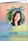 Graduation photo card announcement ribbon frame on watercolor abstract card
