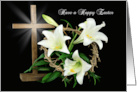Easter Lilies and Crown of Thorns with Cross for Happy Easter card