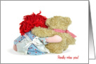 Miss You-old rag doll and teddy bear hugging card