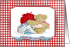 50th Birthday-rag doll and teddy bear hugging with checkered frame card