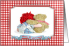 45th Birthday-rag doll hugging a teddy bear with checkered frame card