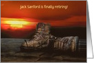 Retirement party invitation-work boots on wood with sunset card