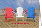 4th of July party invitation, patriotic Adirondack chairs with flags card