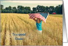 Thank You to Cousin on Veterans Day-girl with flag in wheat field card