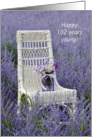 102nd Birthday-mason jar with bouquet on a chair in Russian sage card