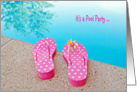 Pool Party invitation-polka dot flip-flops by swimming pool card
