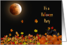 Halloween party invitation with cat in pumpkins and full moon card