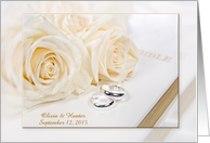 wedding customized name of newlyweds with roses and rings card