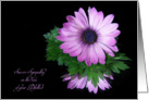 Loss of Godfather sympathy-purple daisy reflection on black card