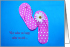 Polka dot flip-flops with white daisy floating in a pool card