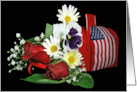 Patriotic floral bouquet in red mailbox for 4th of July card