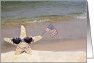 starfish with sunglasses on the beach with American flag and bikini card