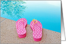 Happy Summer, polka dot flip flops with daisy at edge of a pool card
