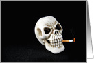 Quit Smoking encouragement, skull with cigarette on black card