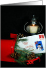 Christmas red mailbox with candle, pine and envelope card