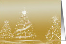 Christmas-gold and white Christmas trees with reflection card