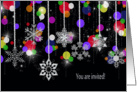 winter party invitation-snowflakes on black card