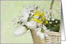 General Birthday- daisy and tulip basket on pin dot background card