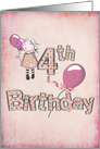 4th birthday girl with pink balloons and polka dot text card