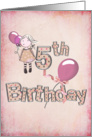 5th birthday-girl with pink balloons card