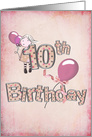 10th birthday, girl with pink balloons and polka dot text card