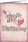 12th birthday for girl with pink balloons and polka dots card