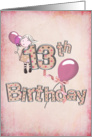 13th Birthday for Girl with pink ballons and polka dots card