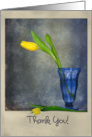 Thank you-yellow tulips in blue sundae glass card