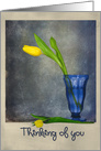 Thinking of You yellow tulip in a blue glass with textured background card