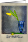 Get Well yellow tulip in blue vase card