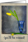 Good Luck yellow tulips in blue vase on vintage textured background card