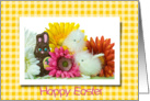 Easter chicks and chocolate bunny with colorful daisies card