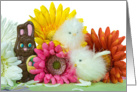 Chocolate Easter bunny with baby chicks and daises card