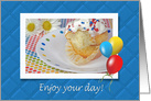 Birthday, bite of out of cupcake with daisies and balloons card