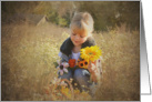 Child with autumn flowers for Get Well Soon card