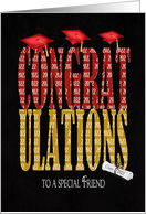 for Friend-2017 Graduation congratulations with red hats card