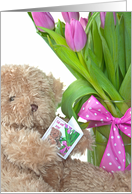 Get Well Soon teddy bear with pink tulip bouquet card