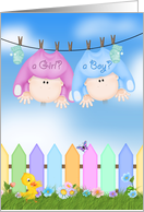 Baby Gender Reveal Party invitation, babies hanging on clothesline card