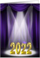 2020 gold text for College Graduation with purple stage curtains card