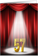 57th Birthday Party invitation-spotlight on stage with red curtains card