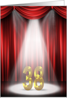 38th Anniversary in the spotlight with red curtains card