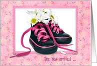 Baby Girl adoption announcement with daisy bouquet in sneakers card