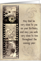 Birthday with daisy filmstrip on textured background card