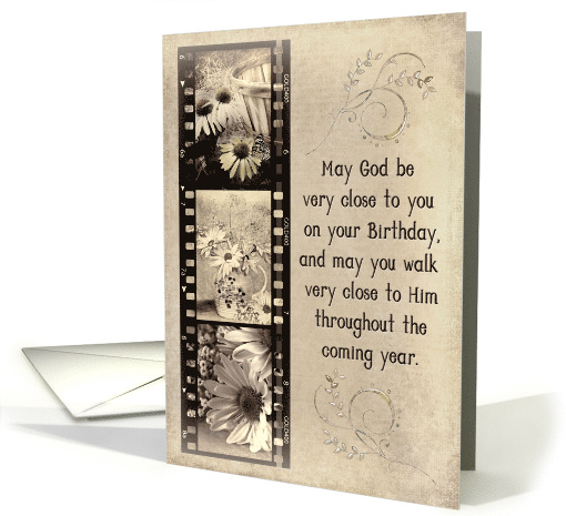 Grandma's Birthday daisy filmstrip in old sepia tone and texture card